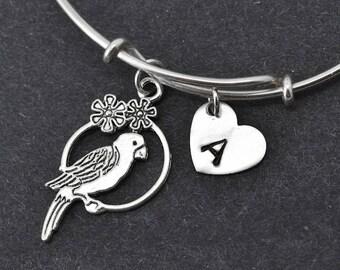 Bird Bangle, Sterling Silver Bangle, Bird Bracelet, Bridesmaid gift, Personalized Bracelet, Charm Bangle, Initial Bracelet, Monogram