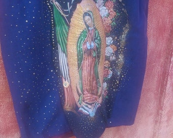 Upcycled silk hand painted guadalupe  image skirt