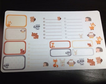 Woodland animals stickers set -  for your EC planner