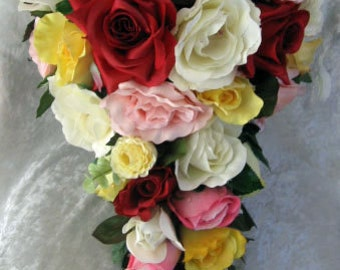 Silk Cascade wedding bouquet red,yellow, ivory, pink 2 pc set