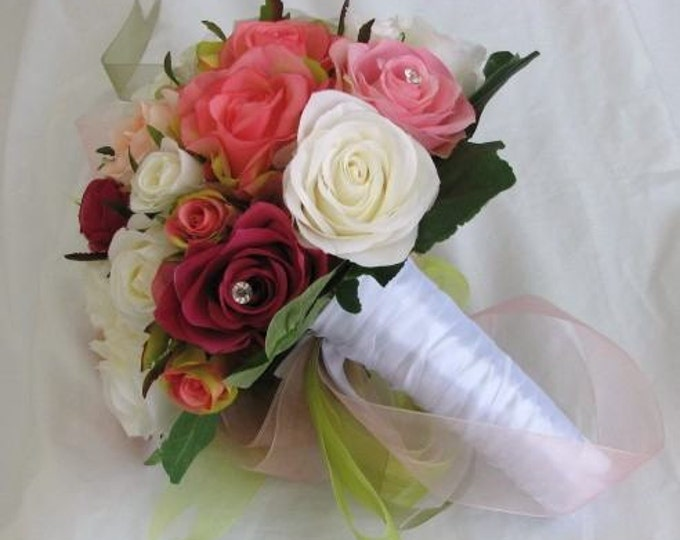 Silk bridal wedding bouquet pink and ivory with faux crystal real touch roses 2 pieces