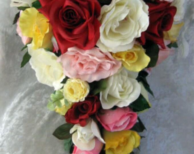 Silk Cascade wedding bouquet red,yellow, ivory, pink 2 pc set