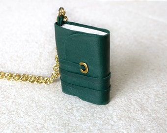 Book necklace, mini book jewelry, mini journal, tiny book , journal, literature necklace, leather journal