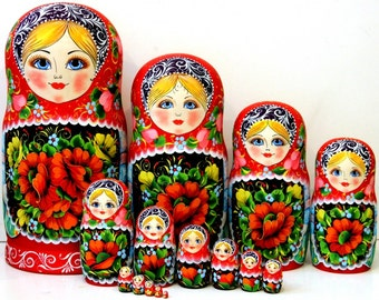 "Nesting doll (artwork) 15 pcs ""Khokhloma motives"""