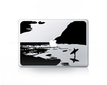 Surfing Beach Waves Ocean Sticker Decal for Mac Laptops - PC, iPad & iPhone Versions Available too.
