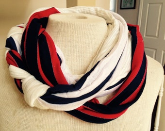 Red white and blue infinity scarf, patriotic circle scarf, Fourth of July scarf, striped neckwear, lightweight scarf, Mother's Day gift