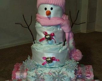 Snowman in a Wagon Diaper Cake