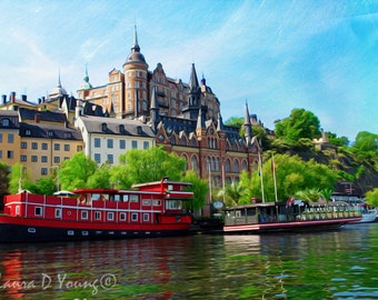 Stockholm Sweden, Stockholm, Baltic Sea Print, Sweden Travel Art, Water Reflections, Red Boats, Travel Photography, Fine Art Photography