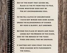 Invictus - William Ernst Henley - Invictus Poem - Invictus Journal - Invictus Notebook - Notebook, Journal, Sketchbook, Writing Book