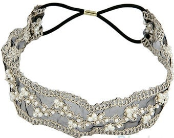 Fashion Lace Pearl Beads Headhand Hairband Hair Head Band