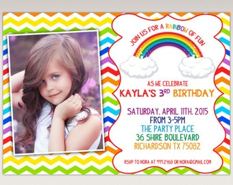 Rainbow Birthday Party printable Photo invitation #405