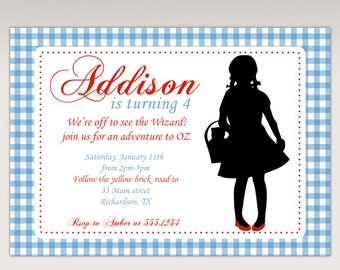Dorothy Silhouette Wizard of Oz Birthday Party printable invitation #354