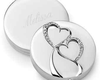 Silver Twin Hearts Compact Mirror (c167-1130) - Free Personalization