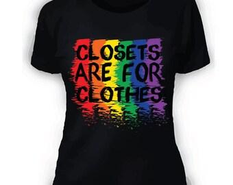 LGBT Gay Pride Shirt Closets Are For Clothes- Rainbow - Gay Pride - Black