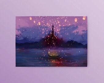Tangled Postcard: Away with You, Disney Postcard, Tangled Lantern Scene, Romantic Postcard