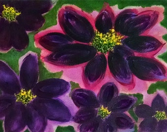 flowers in purple with green