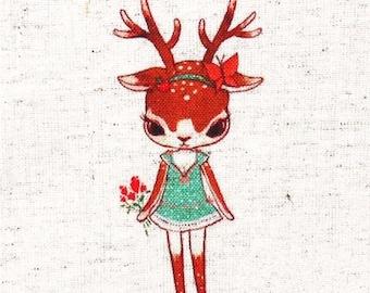 "Deer Fabric,Hand Printed Fabric,Deer With Dress,One Panel 6""x 6"" (15cm X 16cm) C12a"