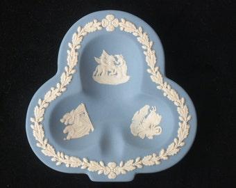 Vintage Wedgwood Blue Jasperware Trefoil Dish