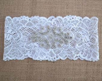 Lace garter, Rhinestone Lace Garter, wedding garter, bride, Ivory lace, applique, bridal garter, brides garter