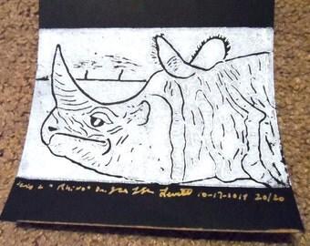 Rhino Linoleum Print 4x6 Silver on Black 2014    #20/20