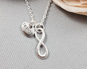 Best friends necklace, infinity necklace, friendship necklace, bff necklace, gift for friend