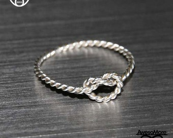 RING - Sterling Silver Knotted Rope Ring Friendship knot Ring BFF  Promise Ring (Handmade) by AwesoMore