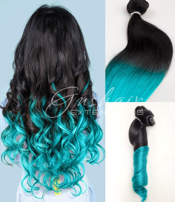 black to turquoise ombre hair -#main