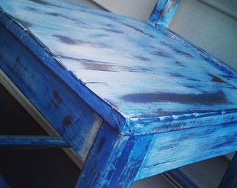 Rustic Wooden Beachy Indigo Blue Chair. Distressed vintage shabby chic look, boho upcycled.