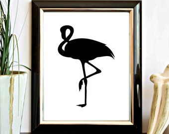 Instant Download - Flamingo Silhouette Wall Decor Printable - Black Flamingo Art Print - Decor Poster - Digital Artwork