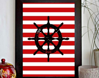 Ship's Steer Printable - Boat's Wheel / Helm - Nautical Wall Decor - Kid's Room - Boy's Room - Beach House Decor Poster