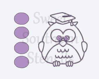 PYO: Graduation Owl Cookie Stencil