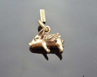 Pendant Flying Pig Bronze