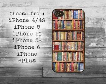 Vintage style bookshelf phone cover -iPhone 4/4S, iPhone 5/5S/5C, iPhone 6/6+, iPhone 6s/6s Plus case - bookshelf iPhone case