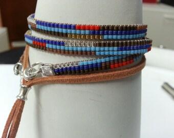 bracelet beaded with Miyuki delica  beads
