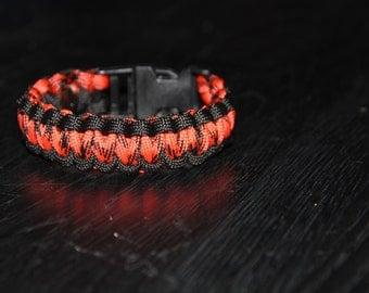 Paracord Survival Bracelet with Clip - Orange and Black