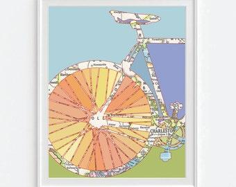 Charleston South Carolina Bicycle Vintage Map ART PRINT, Bicycle bike biking cycling art, gift for couple her, wedding gift, All Sizes