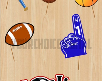 21 Sports Digital Photo Booth Props Clip Art - Soccer, Football, Basketball, Baseball -Trophies, Printable, Digital, Photobooth