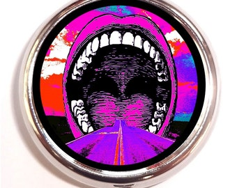 Psychedelic Mouth Pill box Pillbox Case Holder - Trippy Visionary Music Festival Art - Road into Mouth - Rave EDM - Pop Art Surreal
