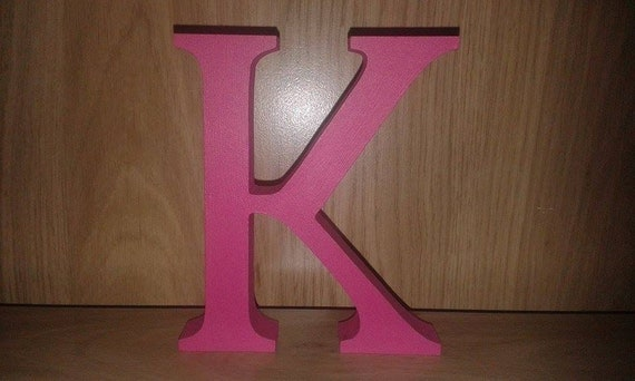 Hot pink wooden letters and numbers by highspeccraft on etsy for Standing wood letters to paint
