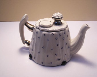 Cardew Teapot / Collectible / White with blue polka dots / Silver plated handles.