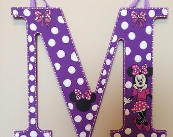 Purple Minnie Mouse themed custom letter