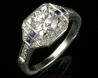 Edwardian style Antique inspired  white gold and diamond and blue sapphire engraved semi mount engagement ring,setting only,for 6.5 and 7.2