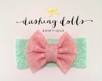 Nb-Adult // Mint Green Lace Headband with Blush Pink Sparkly Bow  // Mint and Pink Sparkle Headband