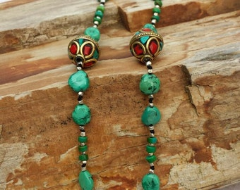 Natural Turquoise hand knotted and beaded necklace