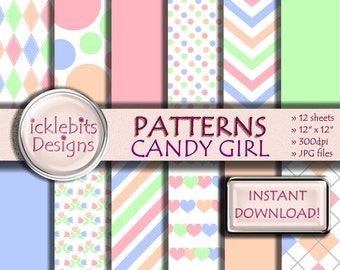 """Patterned Digital Paper Pack for Scrapbooking, """"CANDY GIRL"""" pink, green, peach, blue, stripes, polka dot, hearts, high resolution,Design #34"""