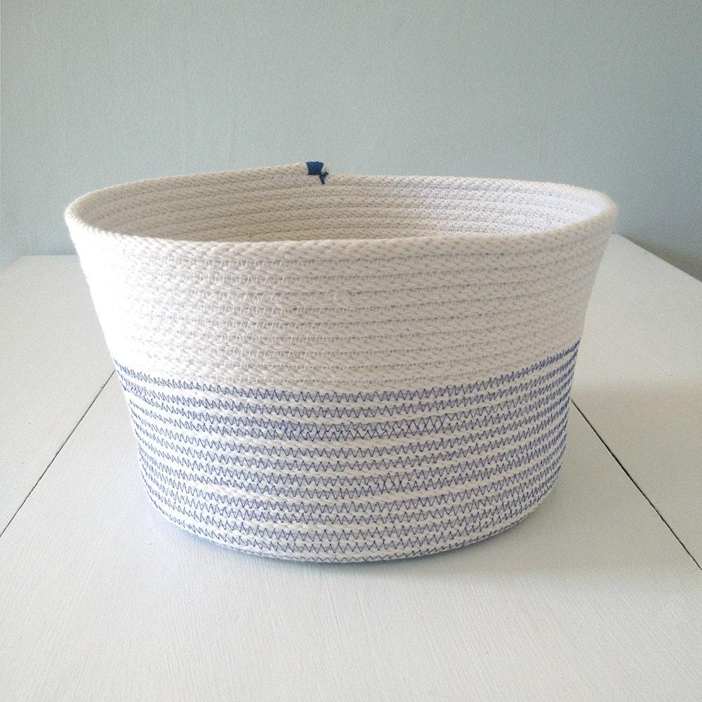 Handmade Rope Basket : Navy handmade coiled rope basket by seastarfarm on etsy