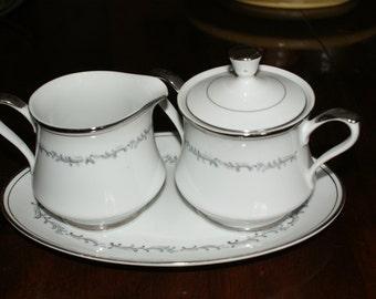 Empress China Serving Set (Sugar Bowl w/ lid, Creamer, Oval platter)