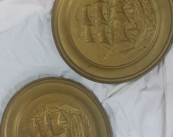 1950's Stamped Brass Wall Plaques (Sailing Ships)