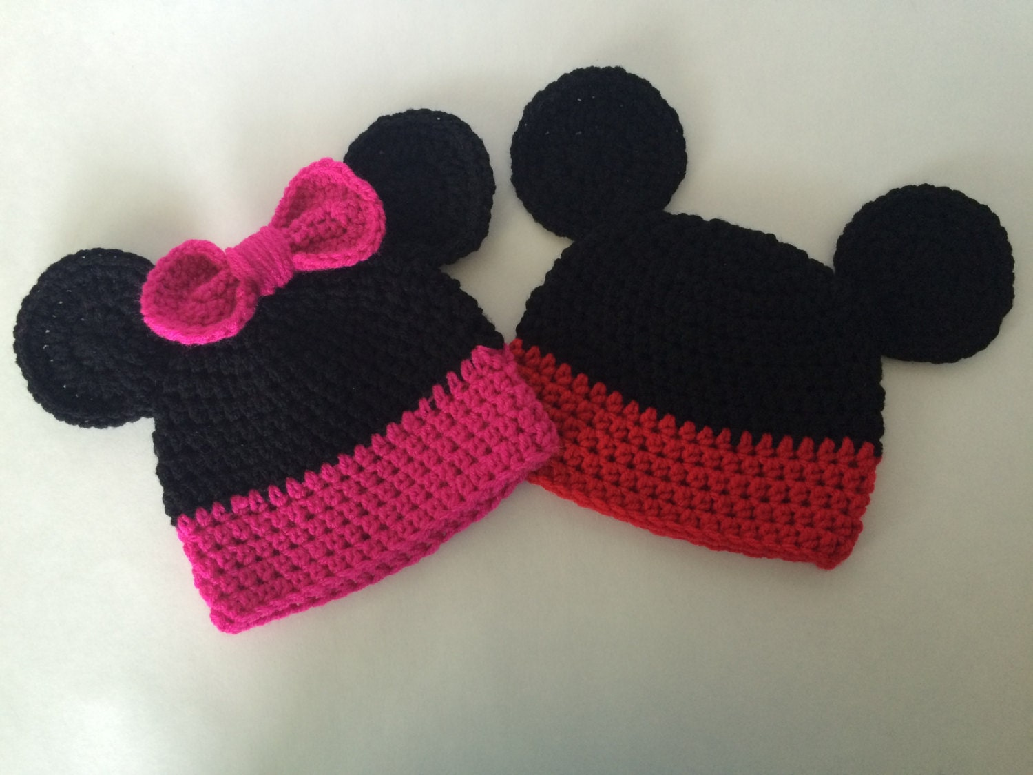Free Crochet Pattern For Toddler Minnie Mouse Hat : Crocheted Minnie/ Mickey Mouse Baby Hat by JujuCrochetBoutique