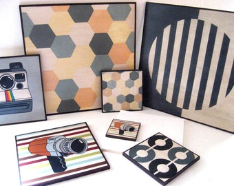 Different sizes paintings on wood, Original Wall Decoration, Mid Century Modern Design Art Blocks, Make Your Own Combination